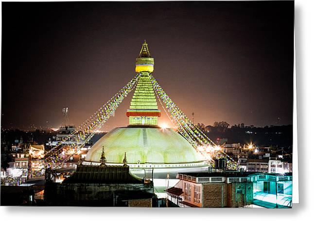 Tibetan Buddhism Greeting Cards - Boudhanath stupa at night in Nepal Kathmandu Greeting Card by Raimond Klavins