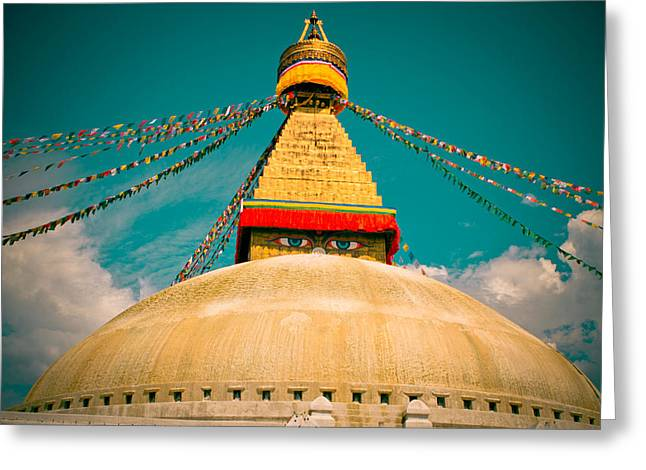 Twilight Framed Prints Greeting Cards - Boudhanath Stupa in Nepal with blue sky Greeting Card by Raimond Klavins