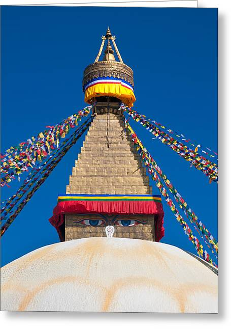 Tibetan Buddhism Greeting Cards - Boudhanath Stupa in the Kathmandu valley Greeting Card by Ulrich Schade