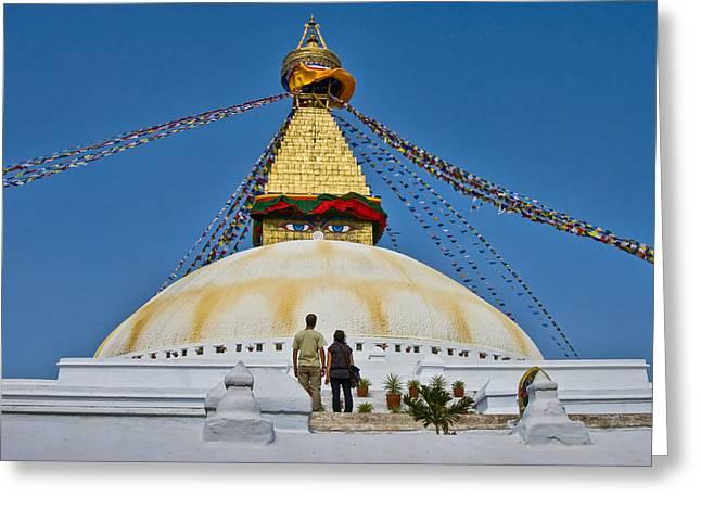 Holier Greeting Cards - Boudhanath Stupa Greeting Card by Nichon Thorstrom