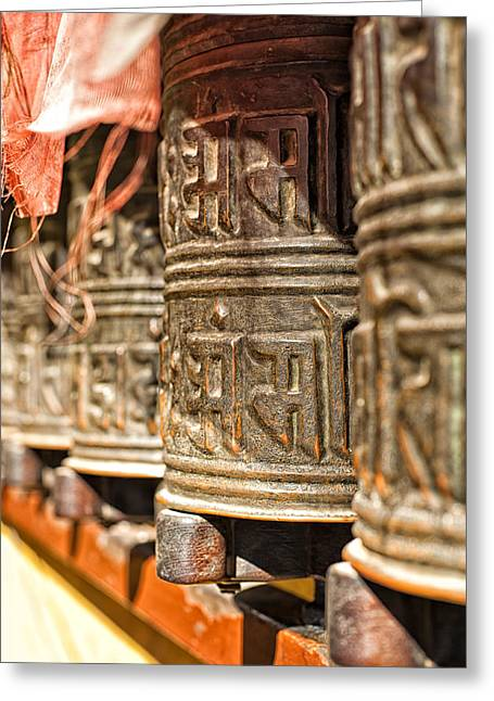 Tibetan Buddhism Greeting Cards - Boudhanath temple bells  Greeting Card by Ulrich Schade