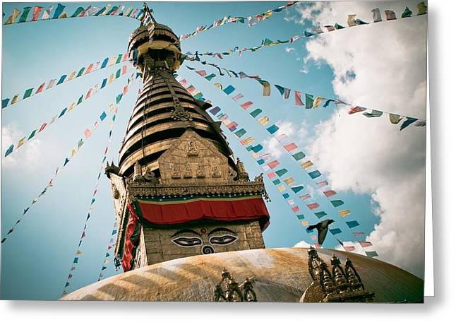 Twilight Pyrography Greeting Cards - Boudhnath Stupa in Nepal Greeting Card by Raimond Klavins