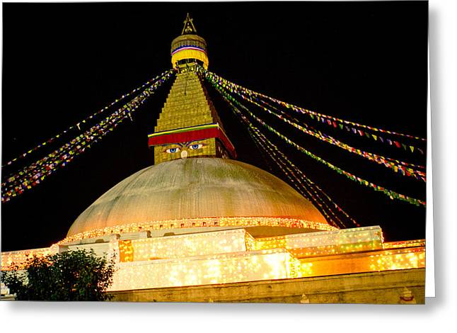 Town Square Greeting Cards - Boudnath Stupa in Nepal at night Greeting Card by Raimond Klavins