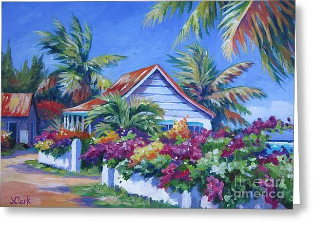 Bougainvillea Cottage Greeting Card by John Clark