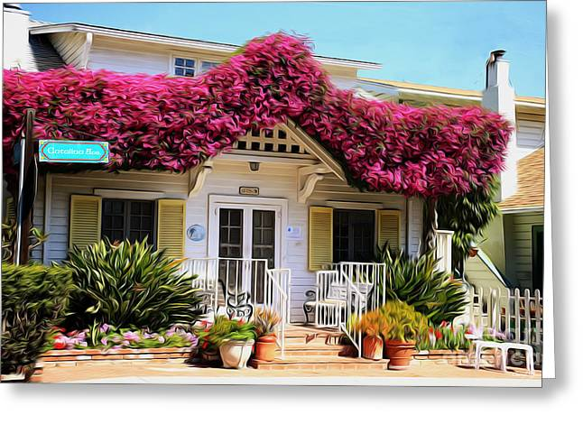 French Doors Greeting Cards - Bougainvillea House Greeting Card by Cheryl Young