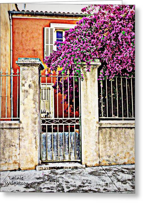 Provence Village Greeting Cards - Bougainvillea on the Fence Greeting Card by Lainie Wrightson