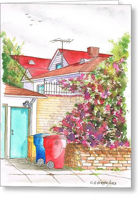 Architecrure Greeting Cards - Bougainvilleas and trash cans in Westwood - California Greeting Card by Carlos G Groppa