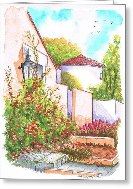 Ocre Greeting Cards - Bougainvilleas in Courney Ave - Hollywood Hills - California Greeting Card by Carlos G Groppa