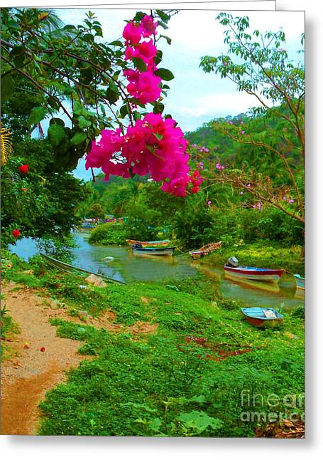 Canoe Greeting Cards - Bouganvilla Watches Over Village Fishing Boats in Mexico Greeting Card by ARTography by Pamela  Smale Williams