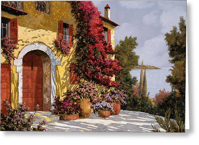 Landscape. Scenic Paintings Greeting Cards - Bouganville Greeting Card by Guido Borelli
