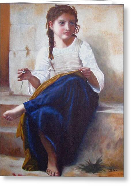 Zelma Hensel Greeting Cards - Bouguereaus Sewing Girl Greeting Card by Zelma Hensel