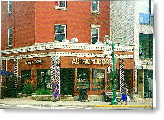 French Open Paintings Greeting Cards - Boulangerie Au Pain Dore Corner Store Paintings French Bakery Shops  Montreal Depanneur Art Cspandau Greeting Card by Carole Spandau