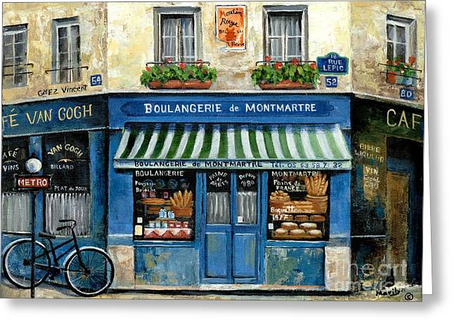 Street Scenes Paintings Greeting Cards - Boulangerie de Montmartre Greeting Card by Marilyn Dunlap