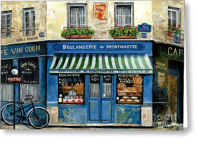 Signed Greeting Cards - Boulangerie de Montmartre Greeting Card by Marilyn Dunlap