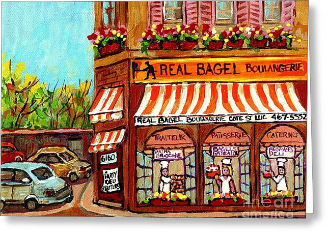 Take-out Greeting Cards - Boulangerie Paintings Real Bagel Bakeshop Ndg Deli  Sandwiches Fromagerie Montreal Memories Art  Greeting Card by Carole Spandau