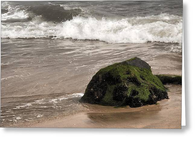 Bay Head Beach Greeting Cards - Boulder And The Wave - Jersey Shore Greeting Card by Angie Tirado