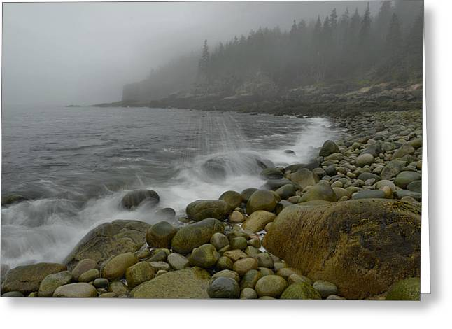 Maine Beach Greeting Cards - Boulder Beach in Fog Greeting Card by Stephen  Vecchiotti