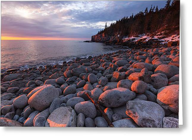 Maine Beach Greeting Cards - Boulder Beach Greeting Card by Patrick Downey