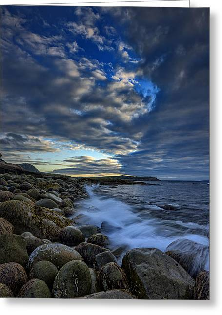 Maine Beach Greeting Cards - Boulder Beach Greeting Card by Rick Berk
