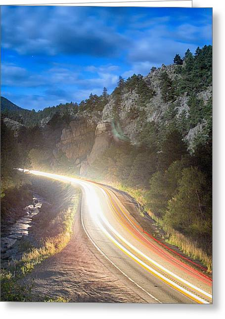 Fishing Creek Greeting Cards - Boulder Canyon Neon Light  Greeting Card by James BO  Insogna