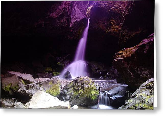 Geology Photographs Greeting Cards - Boulder Cave Falls  Greeting Card by Jeff  Swan