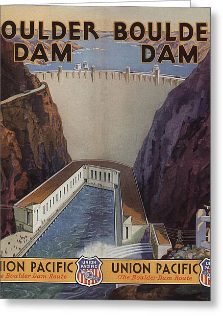 Hoover Dam Greeting Cards - Vintage Train Ad 1935 Greeting Card by Andrew Fare