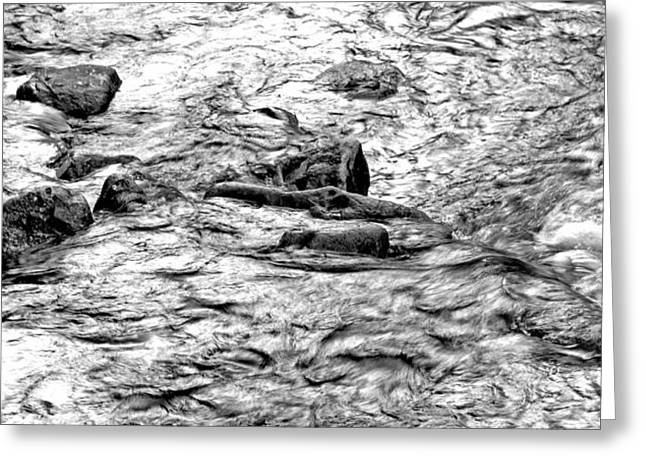 Go With The Flow Greeting Cards - Boulder filled Stream Rapids Greeting Card by A Gurmankin