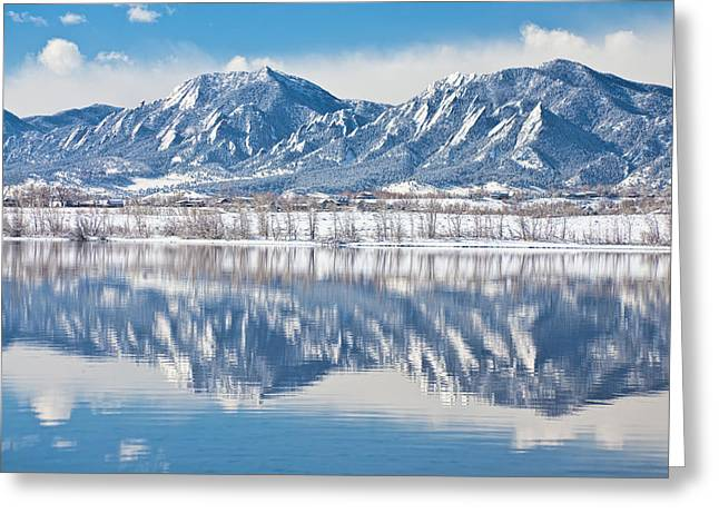Boulder Reservoir Flatirons Reflections Boulder Colorado Greeting Card by James BO  Insogna