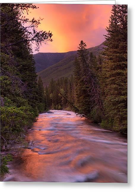 Boulder River Sunset Greeting Card by Leland D Howard