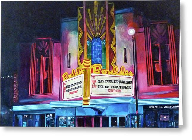 Rock And Roll Greeting Cards - Boulder Theater Greeting Card by Tom Roderick