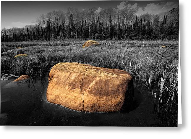 Boulders In A Pond Near The Boundary Waters Greeting Card by Randall Nyhof