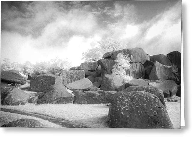 Devils Den Greeting Cards - Boulders in Infrared  Greeting Card by Guy Whiteley