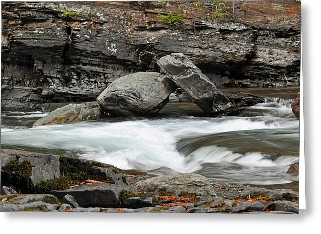 Lake Mcdonald Greeting Cards - Boulders in McDonald Creek Greeting Card by Bruce Gourley