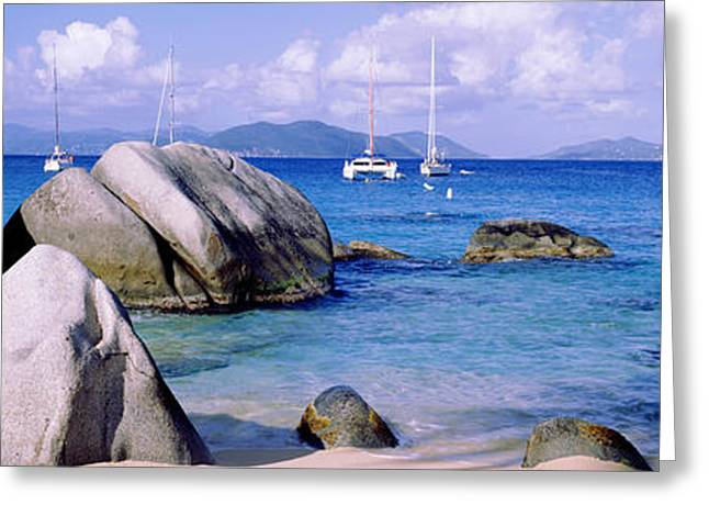 West Indies Greeting Cards - Boulders On A Coast, The Baths, Virgin Greeting Card by Panoramic Images