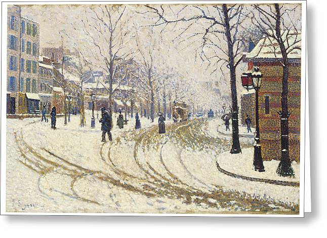 Winter In The City Greeting Cards - Boulevard de Clichy Snow Greeting Card by Paul Signac