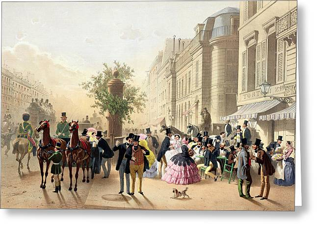 Coach Greeting Cards - Boulevard Des Italiens, From Physionomies De Paris, 1856 Colour Litho Greeting Card by Eugene Charles Francois Guerard