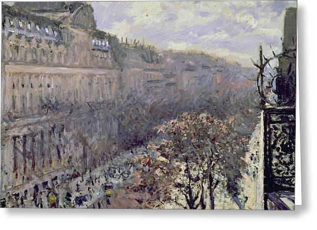 Grate Greeting Cards - Boulevard des Italiens Greeting Card by Gustave Caillebotte