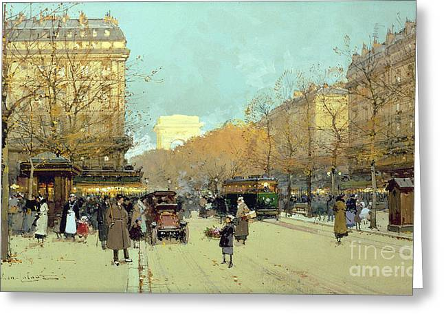 Arc De Triomphe Greeting Cards - Boulevard Haussmann in Paris Greeting Card by Eugene Galien-Laloue