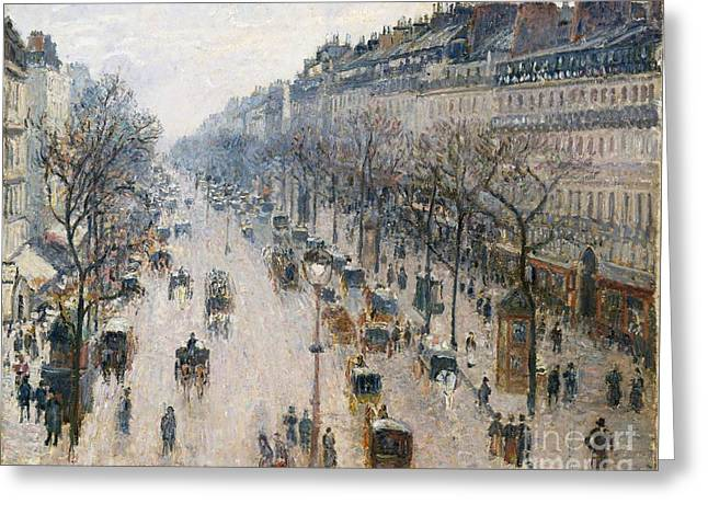 Boulevard Montmartre On A Winter Morning Greeting Card by Celestial Images