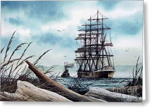 Sailing Ship Framed Prints Greeting Cards - Bound for Blue Water Greeting Card by James Williamson