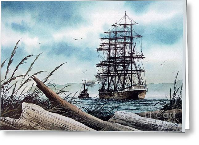 Tall Ship Canvas Greeting Cards - Bound for Blue Water Greeting Card by James Williamson