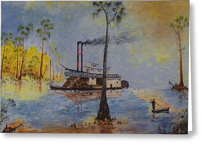 Huckleberry Paintings Greeting Cards - Bound for New Orleans Bayou Saint John Louisiana Greeting Card by Richard Barham