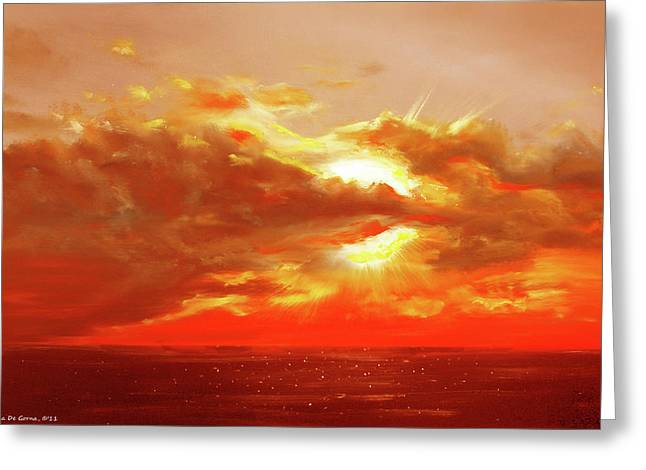 Gorna Greeting Cards - Bound of Glory - Red Sunset  Greeting Card by Gina De Gorna