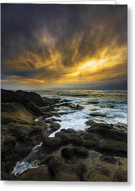 Sunset Seascape Greeting Cards - Boundary of the Sea Greeting Card by Robert Bynum