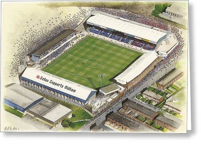 Boundary Park - Oldham Athletic Greeting Card by Kevin Fletcher