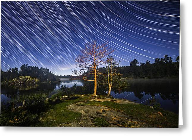 Boundary Waters Greeting Cards - Boundary Waters Star Trails Greeting Card by Christopher Broste
