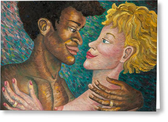Interracial Love Greeting Cards - Boundless Greeting Card by Claudia Cox