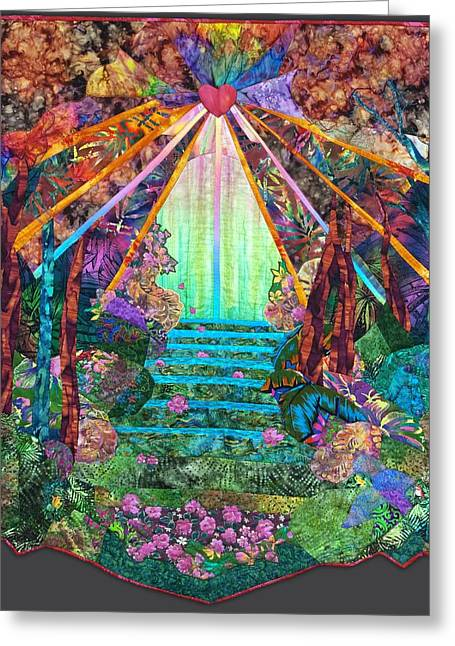 Spiritual Tapestries - Textiles Greeting Cards - Boundless Compassion Greeting Card by Carol Bridges