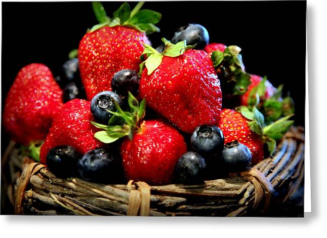 Fruit Stand Greeting Cards - Bountiful Basket Greeting Card by Karen Wiles