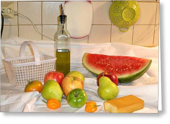 Watermelon Greeting Cards - Bountiful Feast Greeting Card by Debra Organ